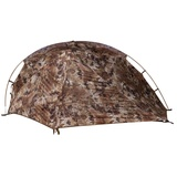 SJK Nightfall 1 Person Tent, Highlander Camo, front view with fly closed