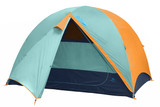 Kelty Wireless 6 tent, green, with fly attached and door open