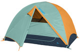 Kelty Wireless 4 tent, green, with fly attached and door open