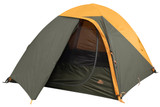 Kelty Grand Mesa 4 tent, brown, with fly attached and door open