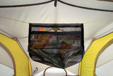 View of a Sierra Designs Portable Attic inside the top of a tent with maps inside