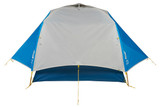 Back view of a Sierra Designs Meteor 2 tent with the rain fly completely on and the vestibules fully extended