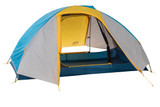 Sierra Designs Full Moon 2 tent, front view, with fly, door opened