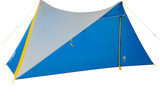 Sierra Designs High Route 2 Tarp, gray/blue, front view, with door closed