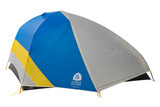Sierra Designs Meteor Lite 3,, front view, with gray/blue fly attached and fully closed