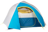 Sierra Designs Nomad 6 tent, white/blue, front view, with fly attached and door opened