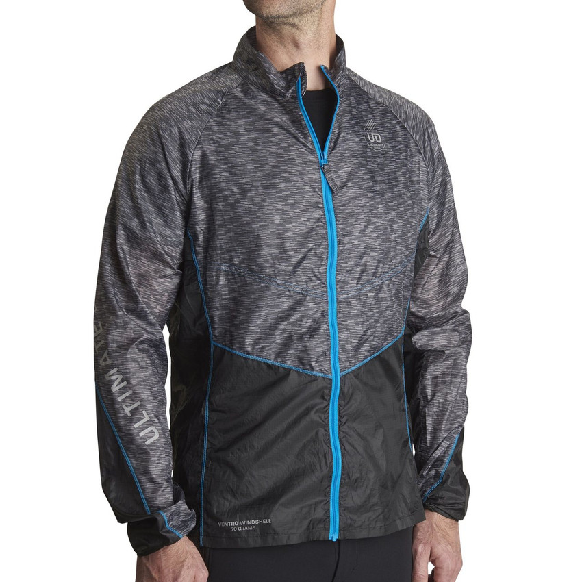 Man wearing Ultimate Direction Men's Ventro Windshell, front view