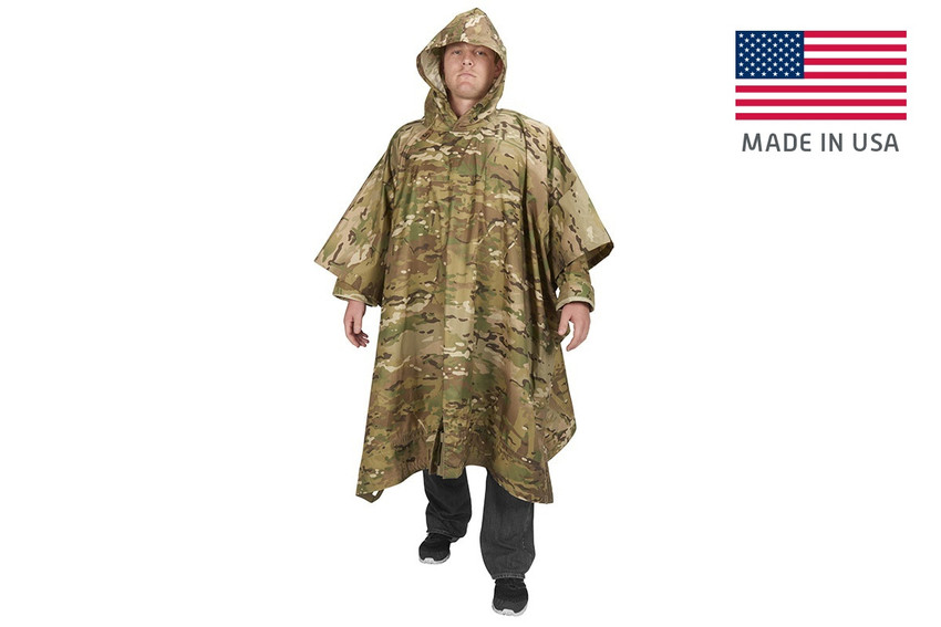 Soldier wearing Kelty Field Craft Poncho FR, in camo color