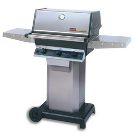 MHP Hybrid Gas Grill With SearMagic Grids On Stainless Cart - THRG2