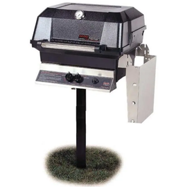 MHP JNR4DD Gas Grill With Stainless Steel Shelf Mounted On In-Ground Post
