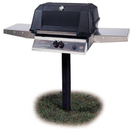 MHP WNK4DD Gas Grill With Stainless Steel Shelves Mounted On In-Ground Post
