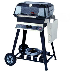 MHP JNR4DD Gas Grill With Stainless Steel Shelf On Aluminum Cart