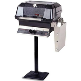 MHP JNR4DD Gas Grill With Stainless Steel Shelf Mounted On Bolt Down Post