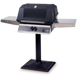 MHP WNK4DD Gas Grill With Stainless Steel Shelves Mounted On Bolt Down Post