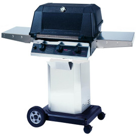 MHP Hybrid Gas Grill With SearMagic Grids On Stainless Steel Cart - WHRG4DD