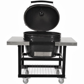 Primo Oval XL 400 Kamado Grill - Jack Daniels Edition With Stainless Cart and Shelves