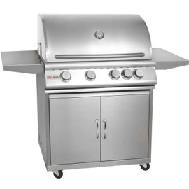 Blaze 32 Inch Freestanding 4-Burner Gas Grill With Rear Infrared Burner - BLZ-4 Stainless Steel