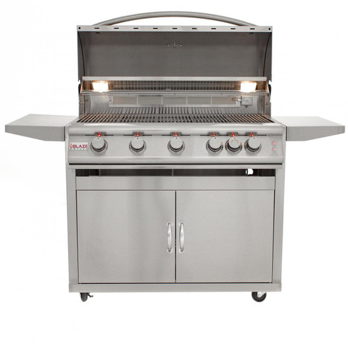 Blaze LTE 40-Inch 5-Burner Freestanding Gas Grill With Rear Infrared Burner & Built-in Lighting - BLZ-5LTE2
