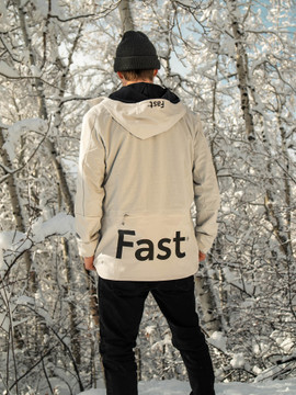 Professional snowboarder Jake Lates wearing the Fast Lite Jacket.