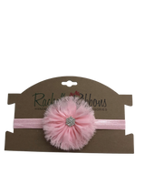 "The stunning jewel styling and color palette make this a welcome addition to any outfit.  Our delicate and perfectly shabby Jewel Ballerina Flower is attached to a 5/8"" width Satin Stretch Headband.  Overall width is approximately 6"", comfortably stretches to approximately 9"".  Flower and headband match, unless otherwise requested.  Perfect for newborn through toddler."