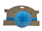 """Our soft and puffy Giant Shabby Flower is attached to a 5/8"""" width Satin Stretch Headband.  Overall width is approximately 6"""", comfortably stretches to approximately 9"""".  Flower and headband match, unless otherwise requested.  Perfect for newborn through toddler."""