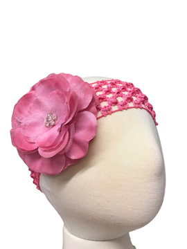Crochet Headband with Precious Petal Flower on Head form