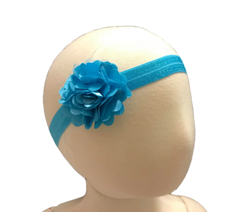 """Our adorable and delicate Satin Mesh Rose is attached to a 5/8"""" width Satin Stretch Headband.  Overall width is approximately 6"""", comfortably stretches to approximately 9"""".  Flower and headband match, unless otherwise requested.  Perfect for newborn through toddler."""