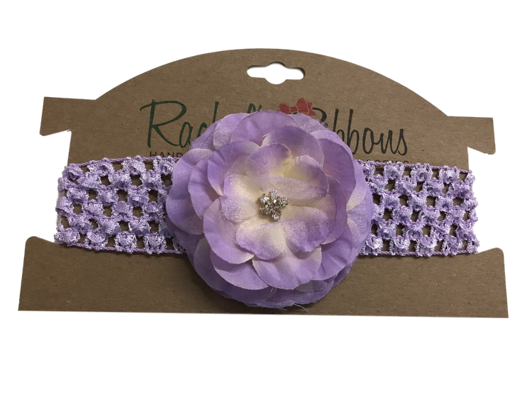 Crochet Headband with Precious Petal Flower on Display Card