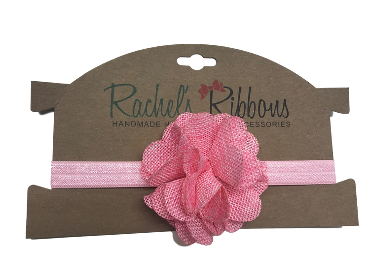 "The stylish color palette makes this a welcome addition to any outfit.  Our soft and subtle Burlap Flower is attached to a 5/8"" width Satin Stretch Headband.  Overall width is approximately 6"", comfortably stretches to approximately 9"".  Flower and headband match, unless otherwise requested.  Perfect for newborn through toddler."