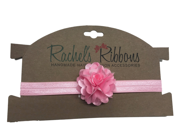"Our adorable and delicate Satin Mesh Rose is attached to a 5/8"" width Satin Stretch Headband.  Overall width is approximately 6"", comfortably stretches to approximately 9"".  Flower and headband match, unless otherwise requested.  Perfect for newborn through toddler."