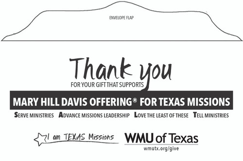 Mary Hill Davis Offering for Texas Missions Envelope (English)