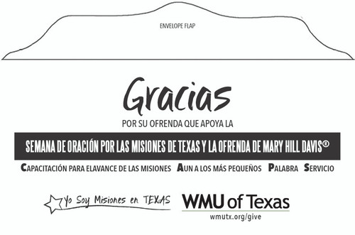 Mary Hill Davis Offering for Texas Missions Envelope (Spanish)
