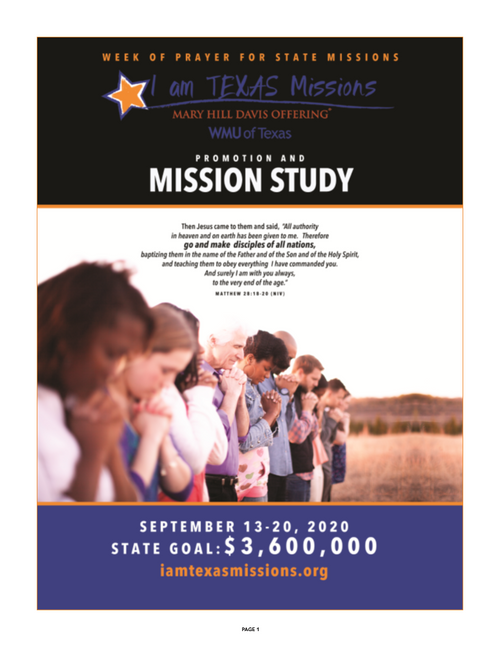 Mary Hill Davis Offering - I am Texas Missions Promotion & Missions Study (pg1)