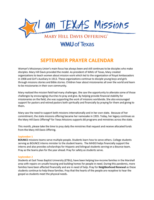 Mary Hill Davis Offering - English Prayer Calendar