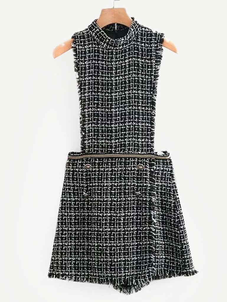 Mock Neck Tweed Jumpsuit
