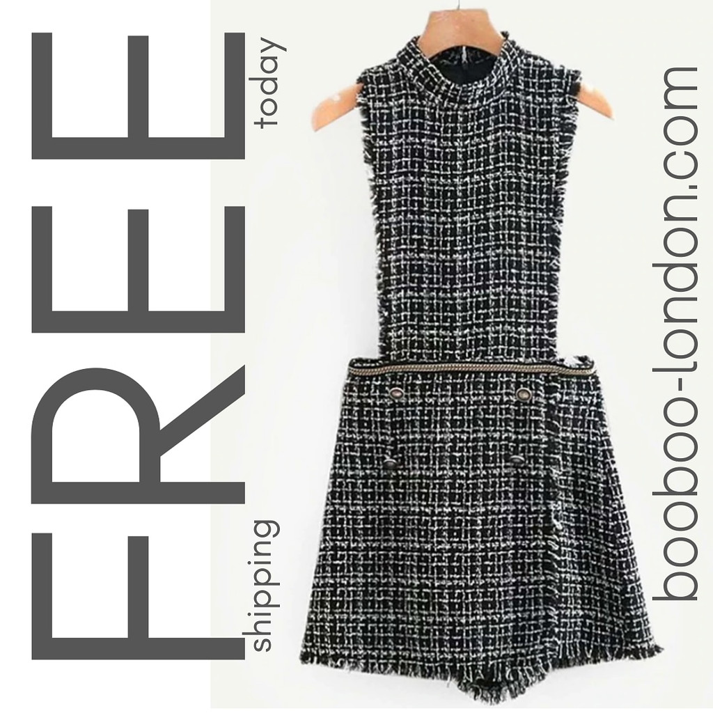 7f35f4ff848e Mock Neck Tweed Jumpsuit Click here to enlarge