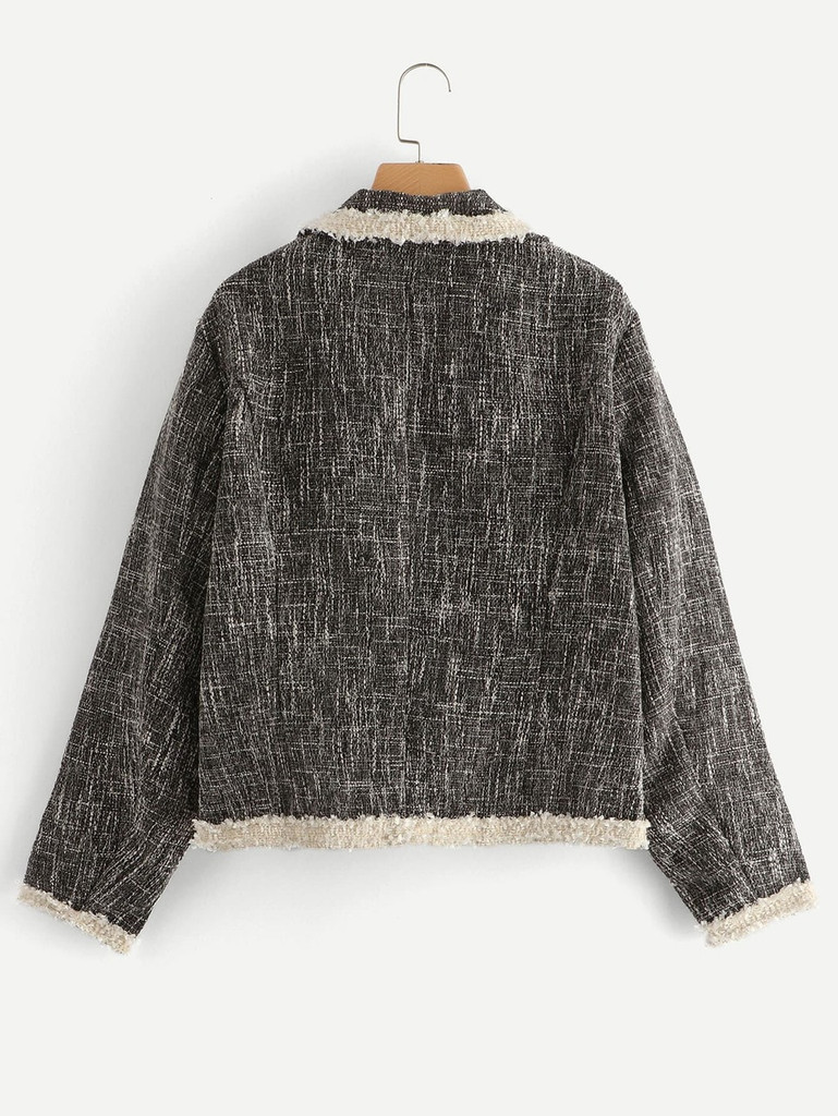 Plus Contrast Binding Tweed Blazer
