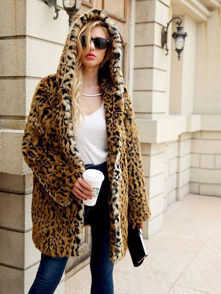 Leopard Open Front Hoodie Outerwear