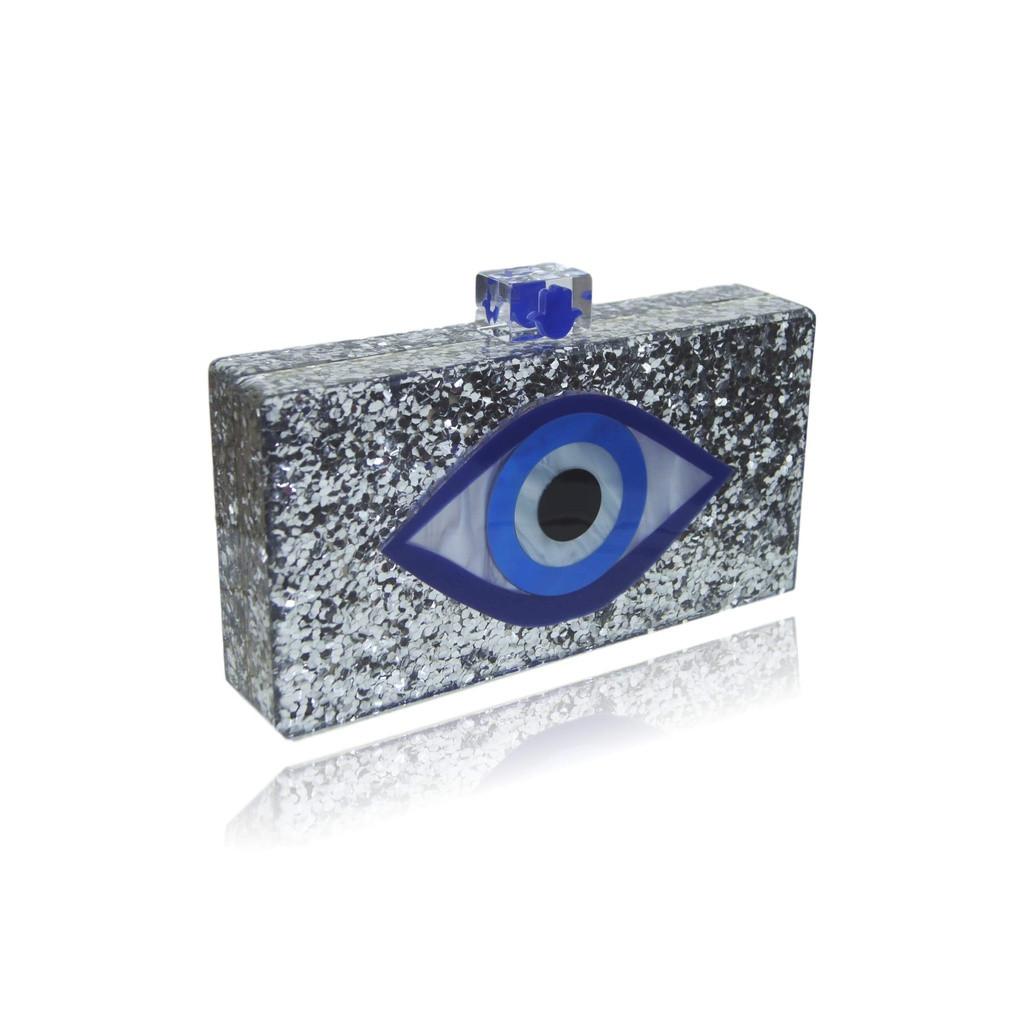 Silver Glitter Evil Eye Clutch