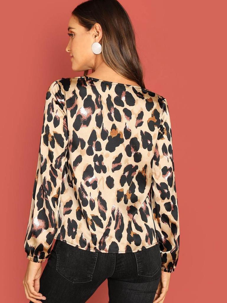 Contrast Lace Leopard Top