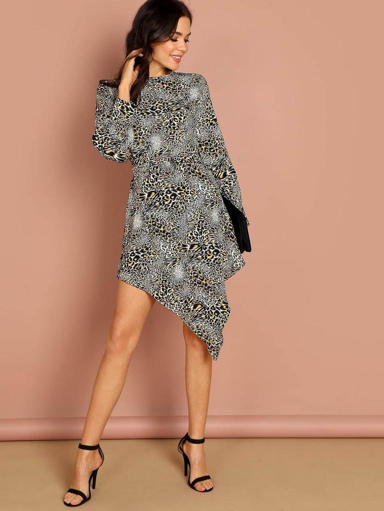 Zip Back Leopard Print Dress