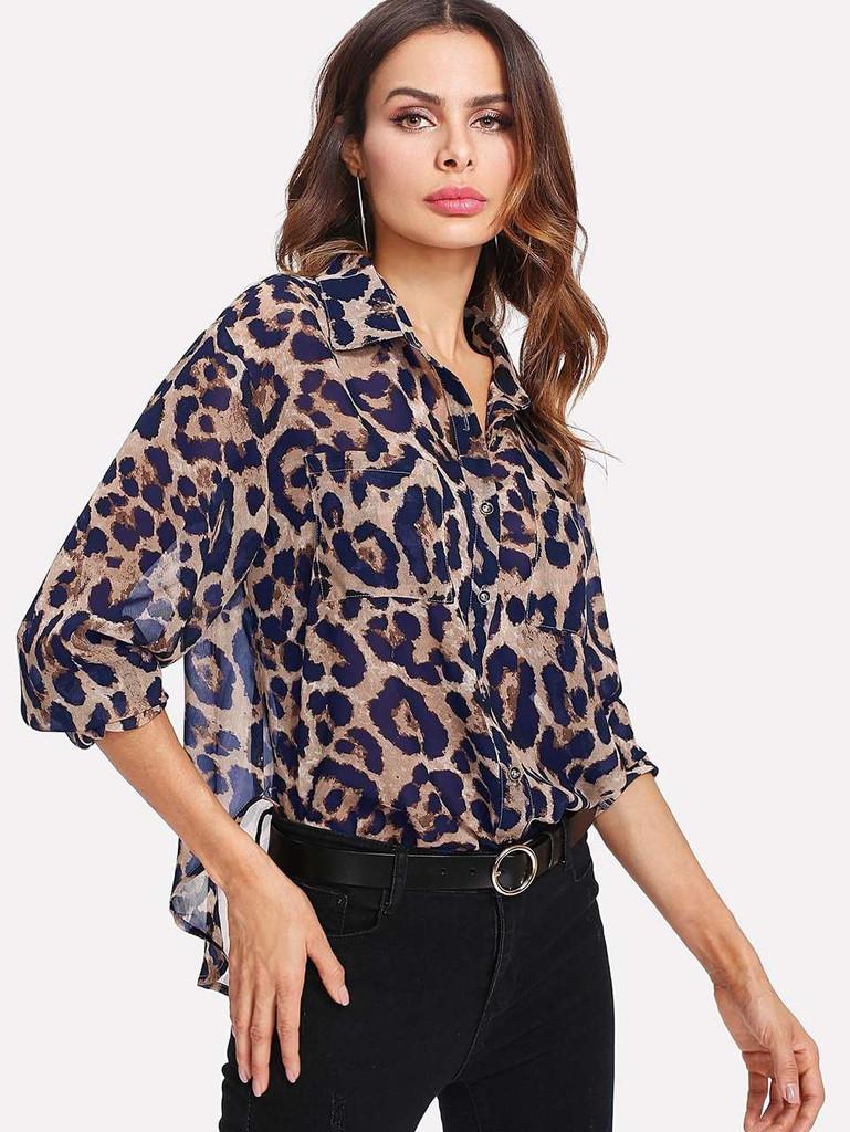 c4c869e25c58 Pocket Patch Curved Hem Leopard Print Shirt - booboo-london.com