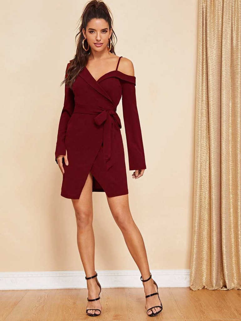 Asymmetric Shoulder Wrap Dress - Burgundy