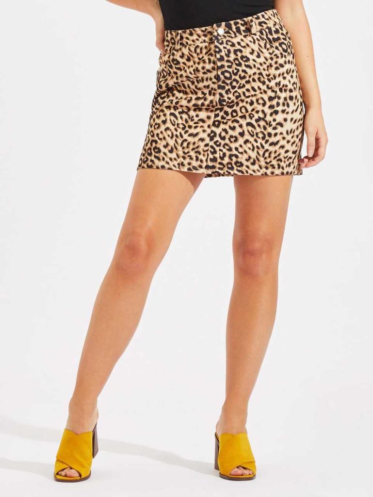 Zip Fly Leopard Skirt