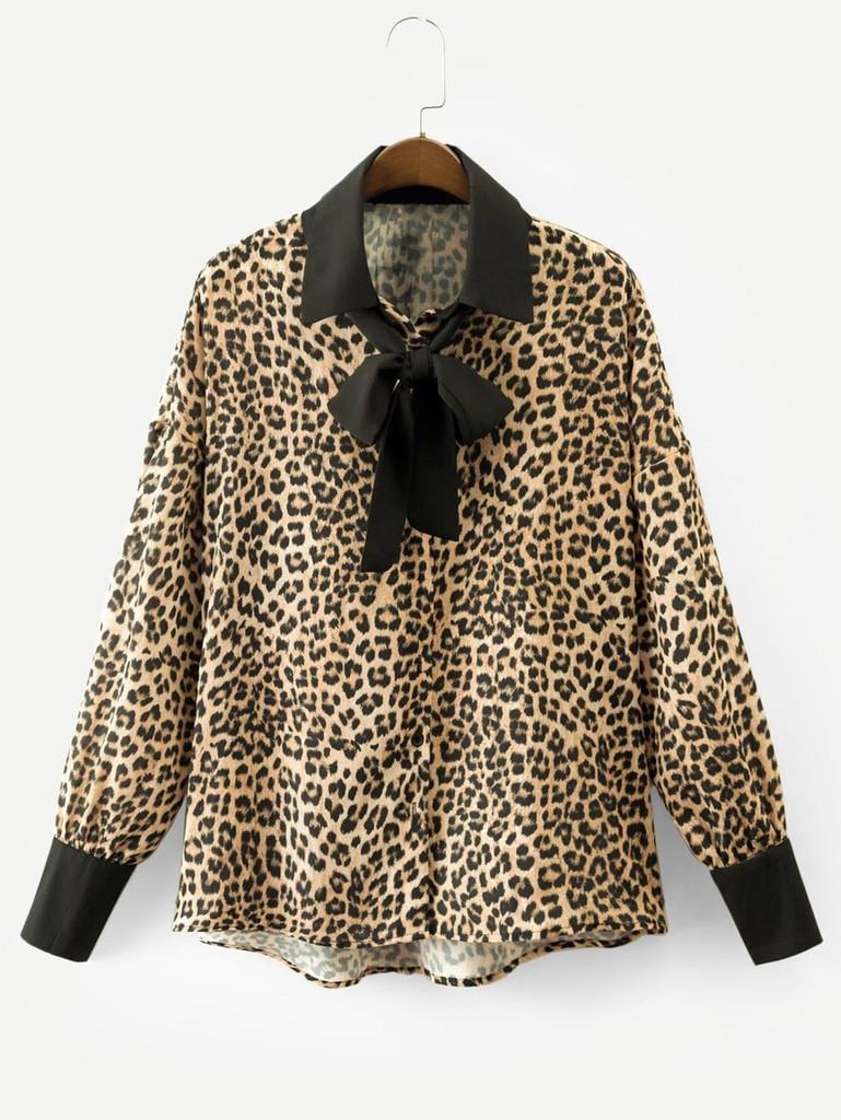 Contrast Trim Drop Shoulder Leopard Print Shirt