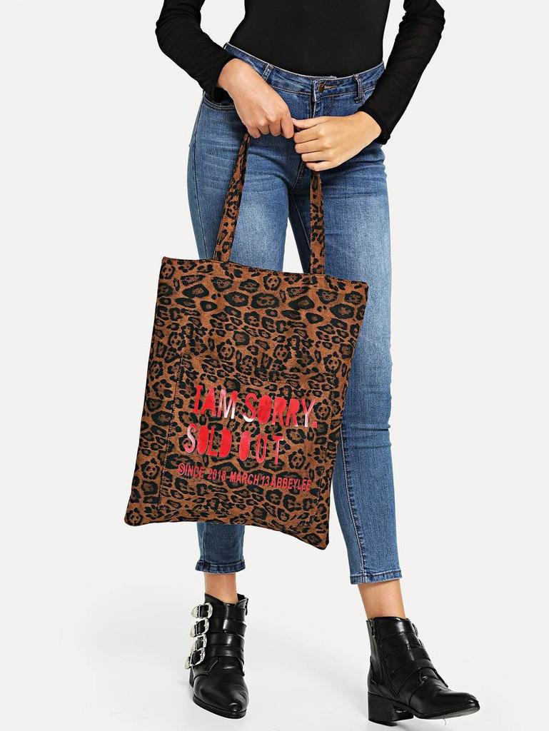 2797df02c8 Slogan Print Leopard Pattern Tote Bag Click here to enlarge