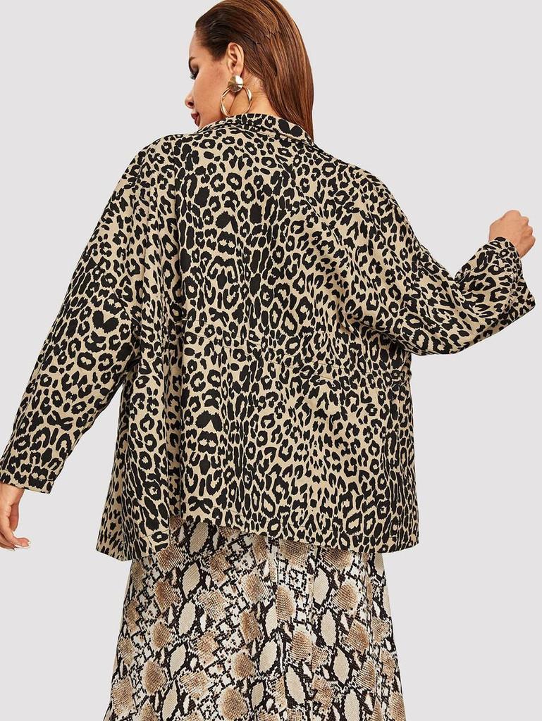 Leopard Print Zip Up Coat