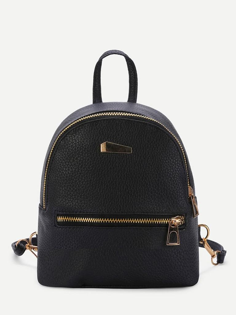 Metal Detail Front Zipper PU Backpack - Black