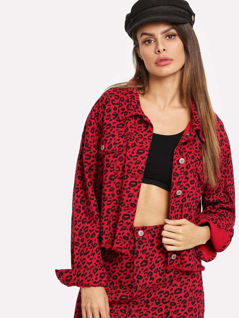 Leopard Print Raw Hem Buttoned Denim Jacket