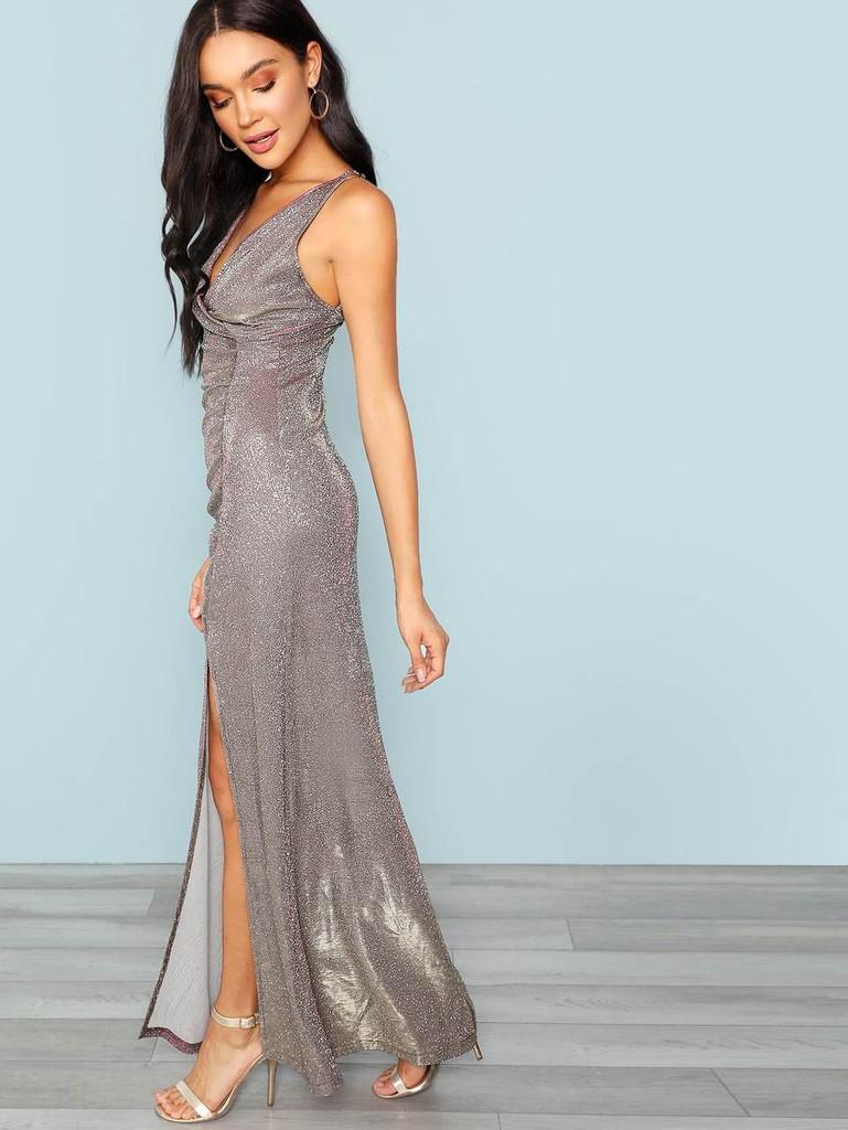 Surplice Neck Ruched Front Slit Glitter Dress